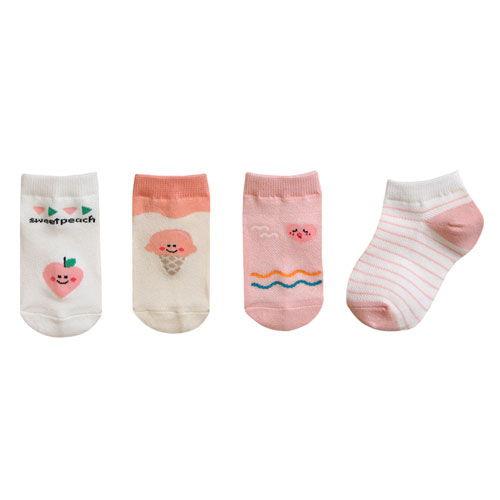 BEBECHAT - BRAND - Korean Children Fashion - #Kfashion4kids - Ankle Summer Pink Socks [set of 4]