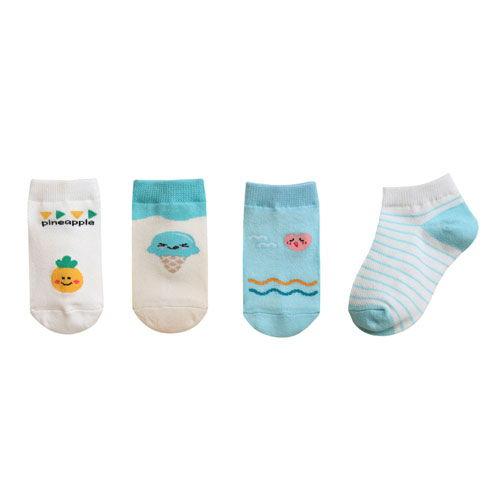 BEBECHAT - BRAND - Korean Children Fashion - #Kfashion4kids - Ankle Summer Blue Socks [set of 4]