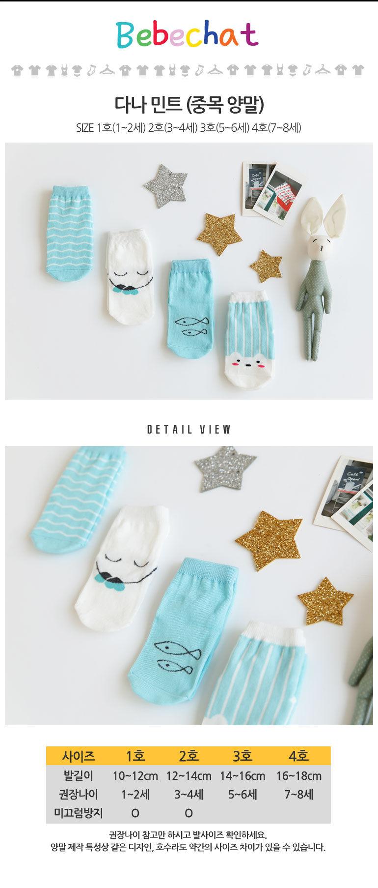 BEBECHAT - Korean Children Fashion - #Kfashion4kids - Dana Mint Socks [set of 4] - 2