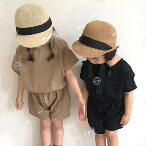 CONCOCTER - BRAND - Korean Children Fashion - #Kfashion4kids - Back Pintuck Top Bottom Set