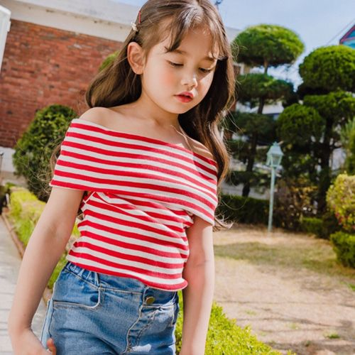 DORE DORE - BRAND - Korean Children Fashion - #Kfashion4kids - Romantic Off Shoulder Tee