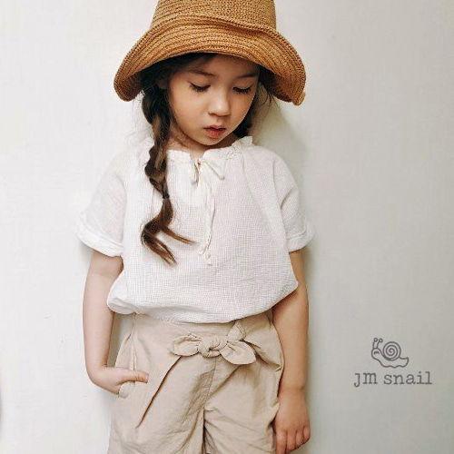 JM SNAIL - BRAND - Korean Children Fashion - #Kfashion4kids - Waffle Ribbon Blouse