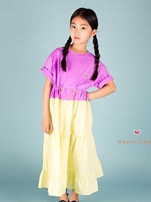 MAGIC FINGER - BRAND - Korean Children Fashion - #Kfashion4kids - String Long One-piece