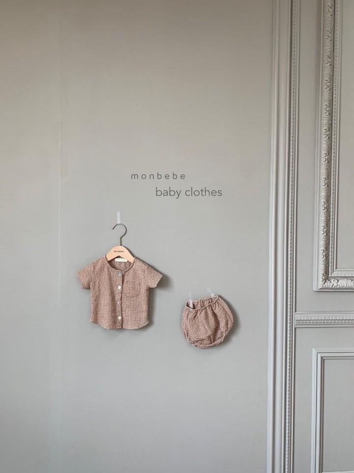 MONBEBE - Korean Children Fashion - #Kfashion4kids - Small Check Top Bloomer Set - 2