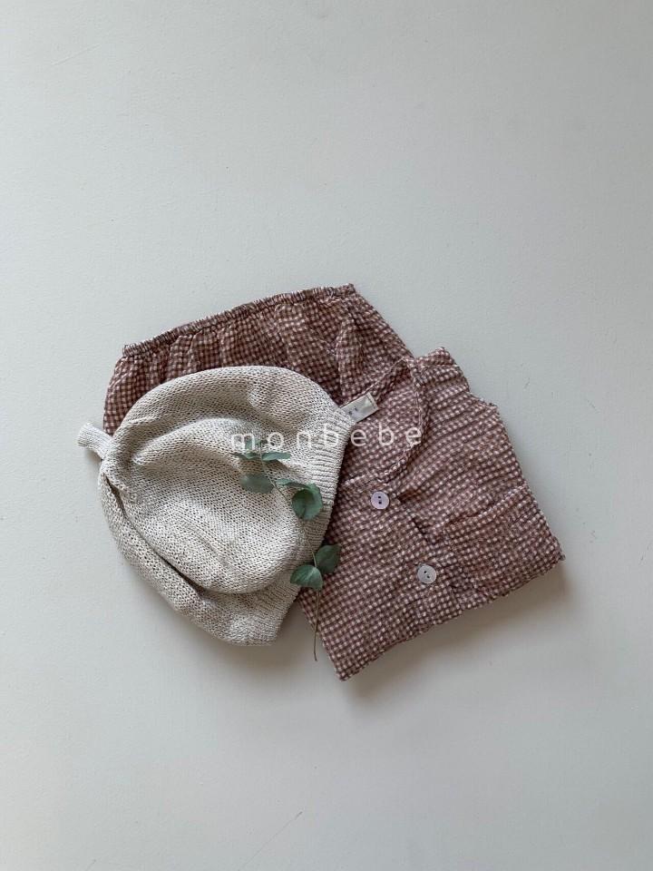 MONBEBE - Korean Children Fashion - #Kfashion4kids - Small Check Top Bloomer Set - 6
