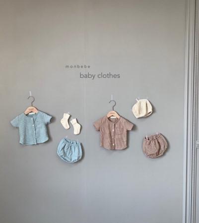 MONBEBE - BRAND - Korean Children Fashion - #Kfashion4kids - Small Check Top Bloomer Set