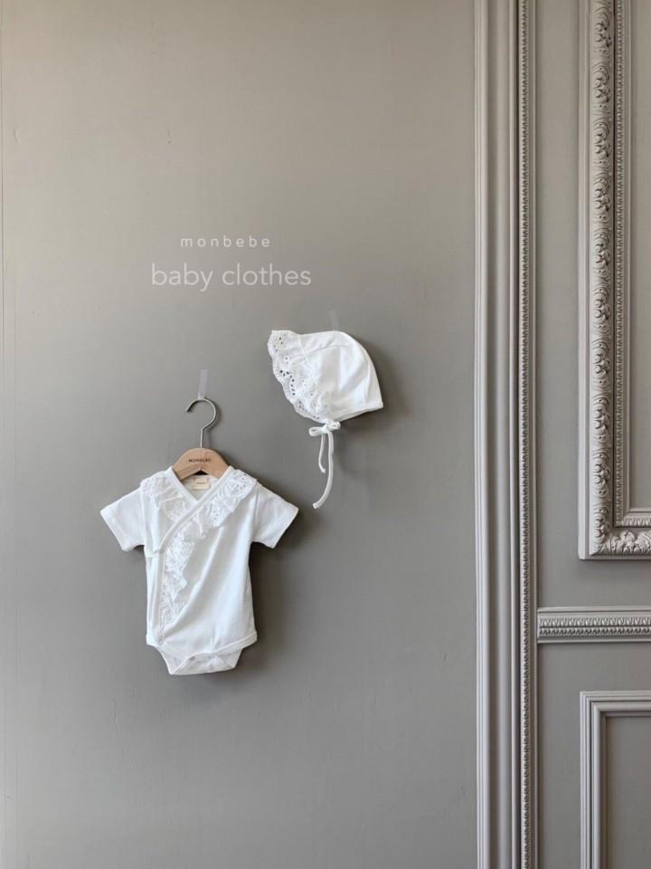 MONBEBE - Korean Children Fashion - #Kfashion4kids - Punching Lace Bodysuit with Bonnet - 4