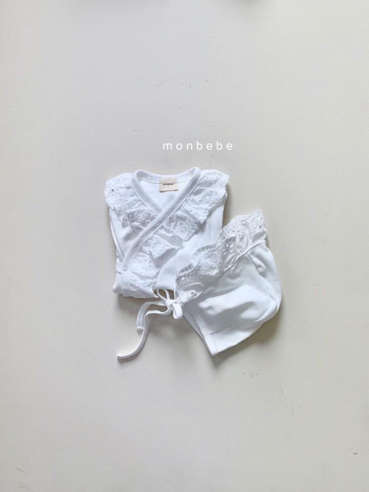 MONBEBE - Korean Children Fashion - #Kfashion4kids - Punching Lace Bodysuit with Bonnet - 5