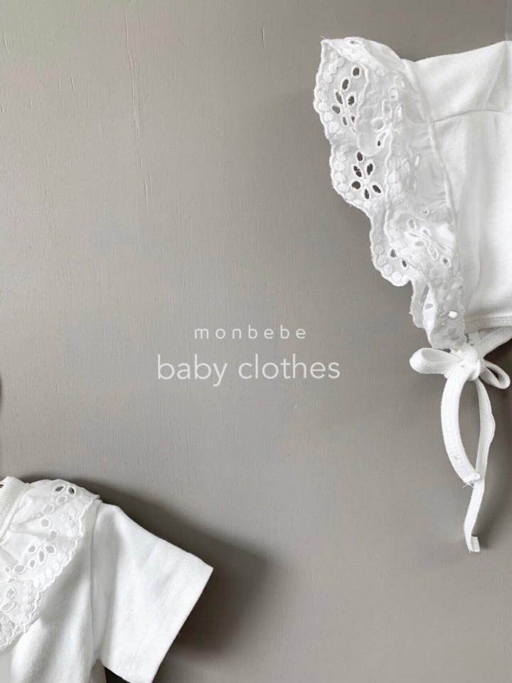 MONBEBE - Korean Children Fashion - #Kfashion4kids - Punching Lace Bodysuit with Bonnet - 6