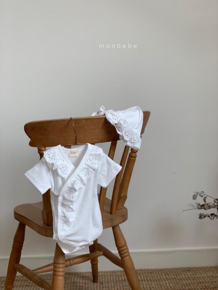 MONBEBE - Korean Children Fashion - #Kfashion4kids - Punching Lace Bodysuit with Bonnet - 7