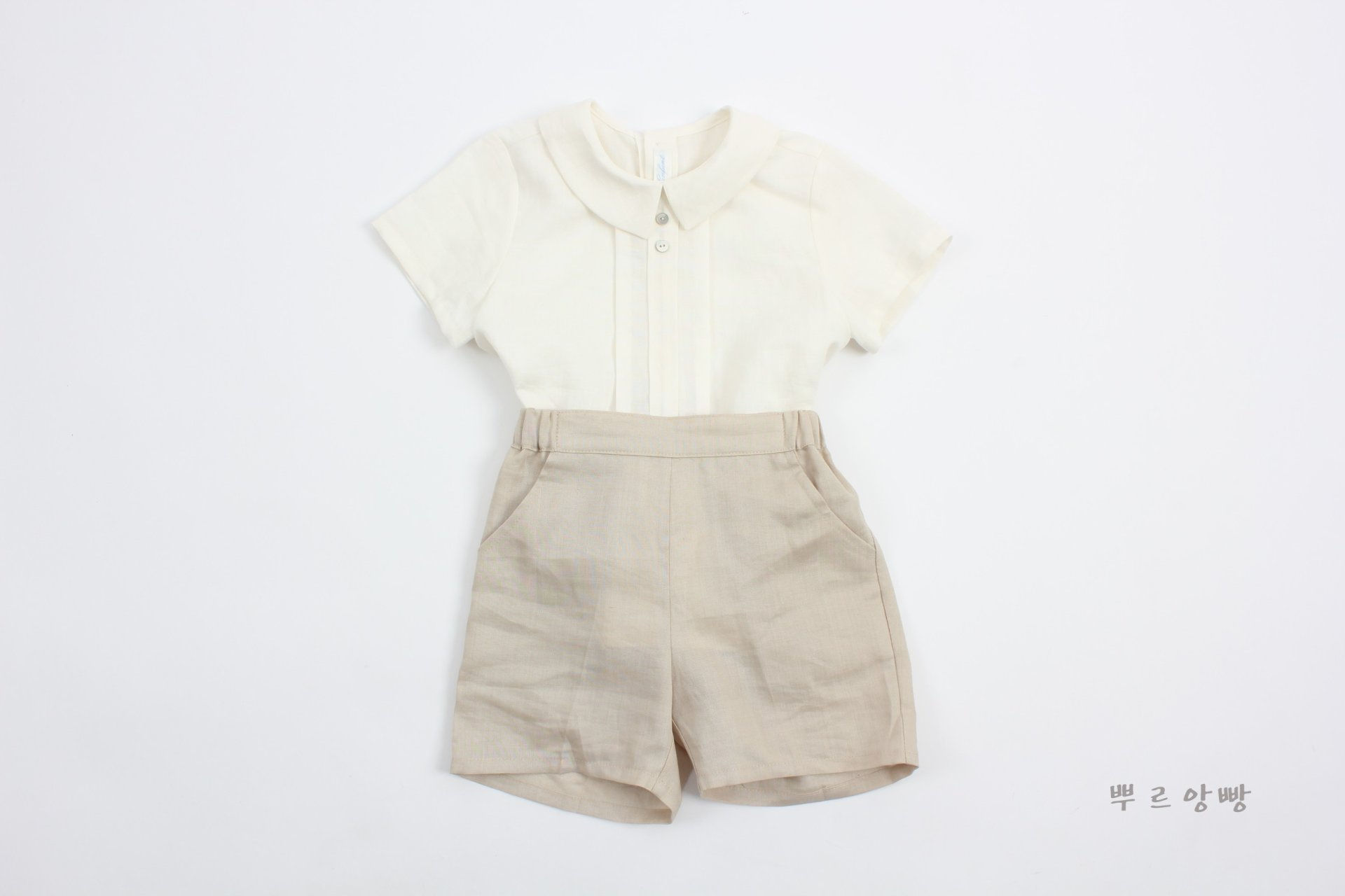 POURENFANT - Korean Children Fashion - #Kfashion4kids - Grandel Linen Top Bottom Set