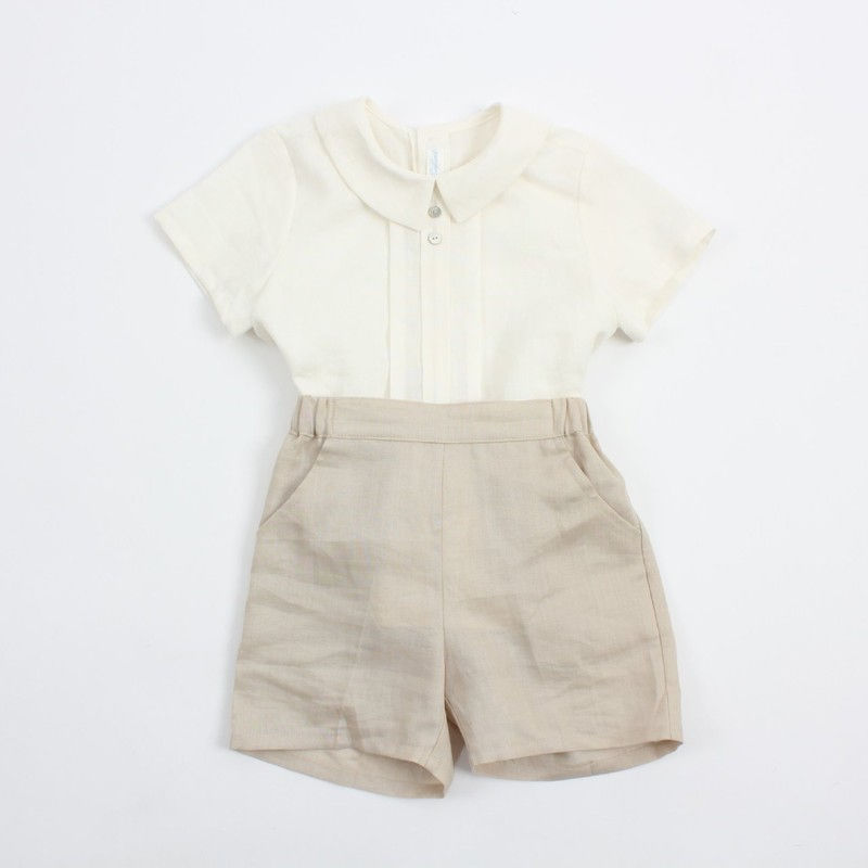 POURENFANT - BRAND - Korean Children Fashion - #Kfashion4kids - Grandel Linen Top Bottom Set