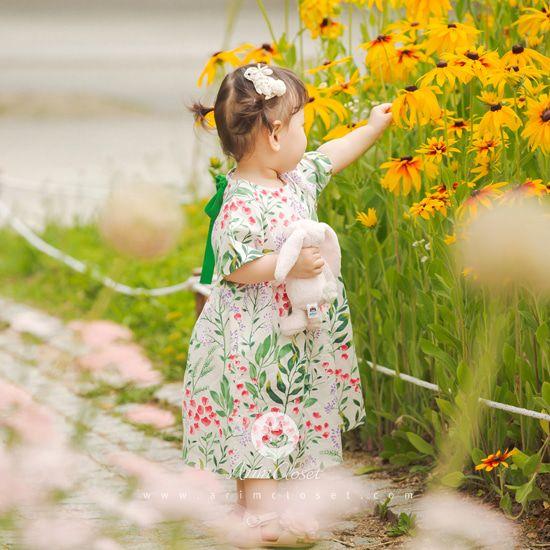 ARIM CLOSET - BRAND - Korean Children Fashion - #Kfashion4kids - Green Ribbon Linen Cotton Baby Dress