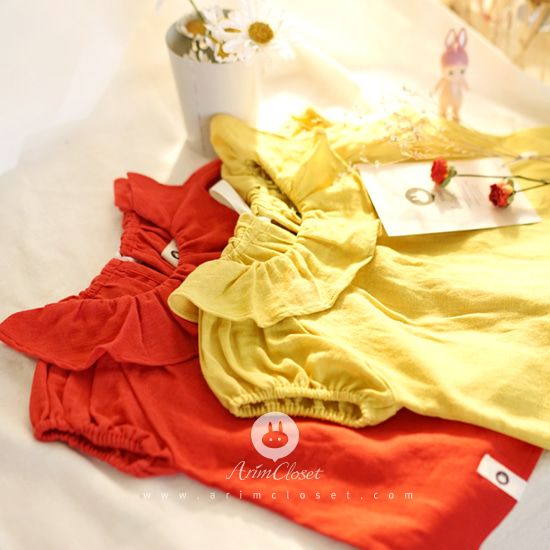 ARIM CLOSET - BRAND - Korean Children Fashion - #Kfashion4kids - Mustard Red Linen Cotton Baby Blouse