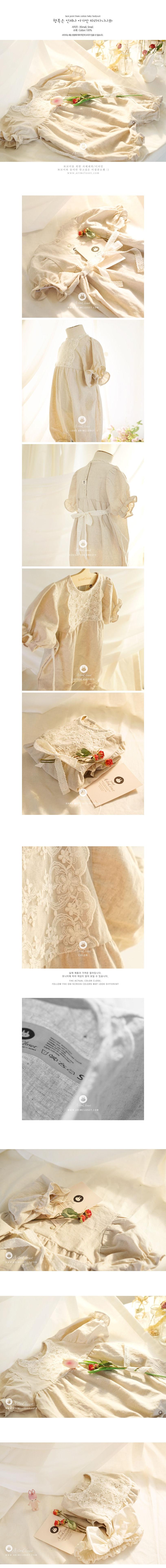 ARIM CLOSET - Korean Children Fashion - #Kfashion4kids - Lace Point Linen Cotton Baby Bodysuit - 2