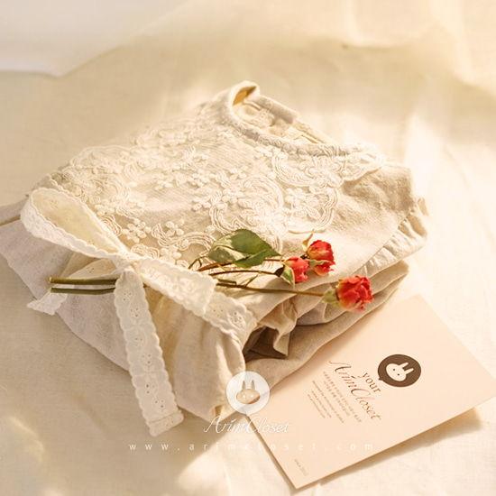 ARIM CLOSET - BRAND - Korean Children Fashion - #Kfashion4kids - Lace Point Linen Cotton Baby Bodysuit