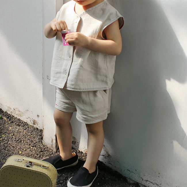 BIEN A BIEN - BRAND - Korean Children Fashion - #Kfashion4kids - Stitch Linen Pants