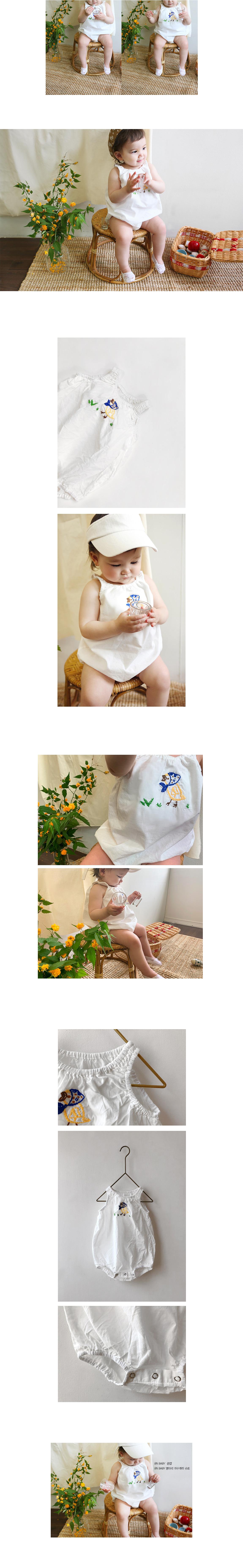 BIEN A BIEN - Korean Children Fashion - #Kfashion4kids - Chick Embroidery Cami Baby Bodysuit - 2