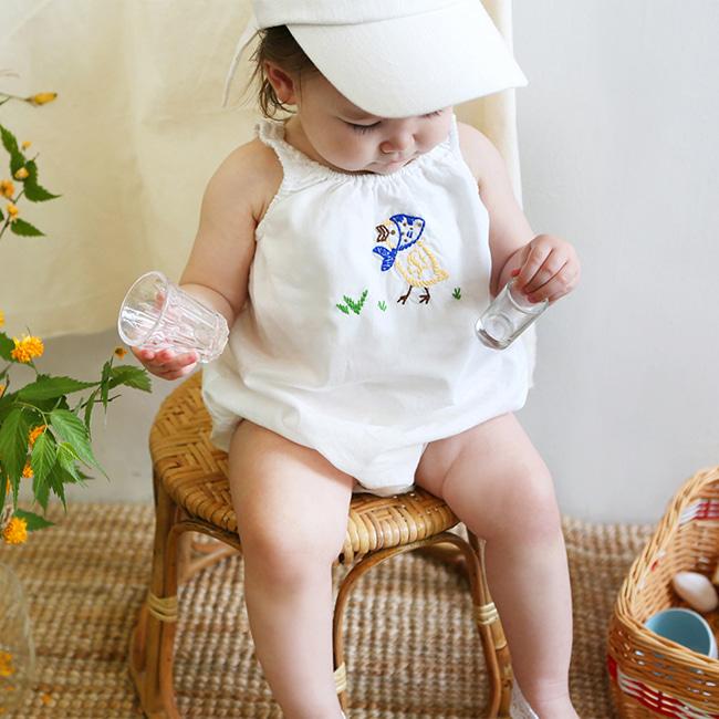 BIEN A BIEN - BRAND - Korean Children Fashion - #Kfashion4kids - Chick Embroidery Cami Baby Bodysuit