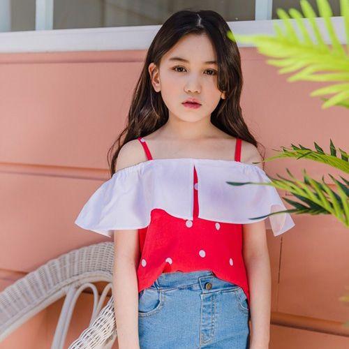 DORE DORE - BRAND - Korean Children Fashion - #Kfashion4kids - Collar Off-shoulder Tee