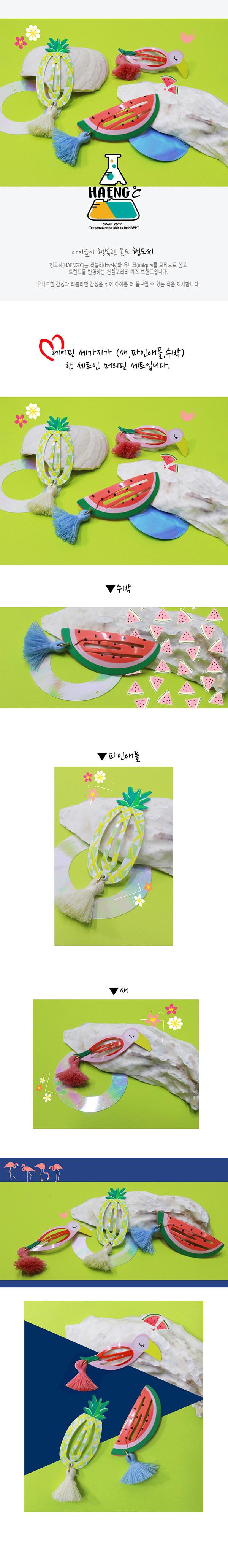 HAENGDOCI - Korean Children Fashion - #Kfashion4kids - Tropical Frineds Hairpin [set of 3]