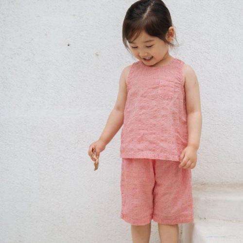 LITTLE COLLI - BRAND - Korean Children Fashion - #Kfashion4kids - Check Top Bottom Set