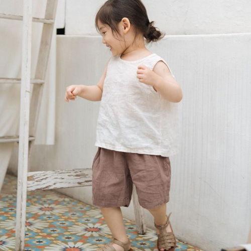 LITTLE COLLI - BRAND - Korean Children Fashion - #Kfashion4kids - Linen Top Bottom Set