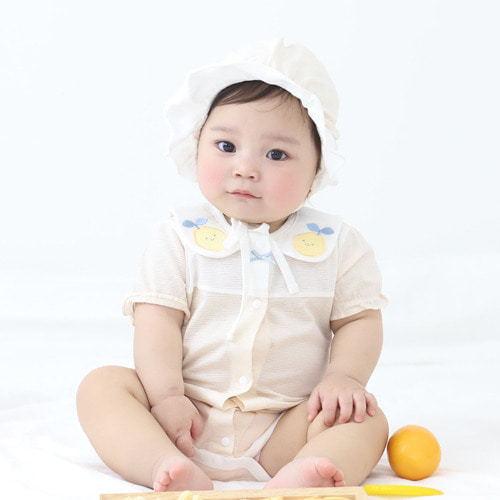 MEREBE - BRAND - Korean Children Fashion - #Kfashion4kids - Lemony Short Baby Bodysuit