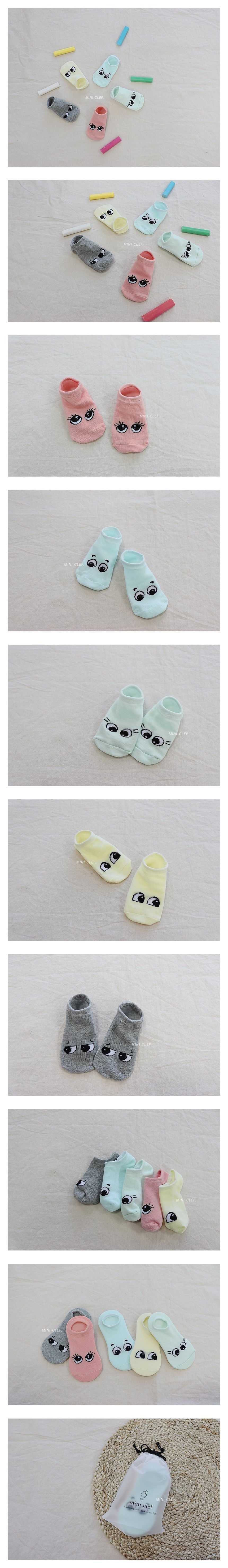 MINI CLEF - Korean Children Fashion - #Kfashion4kids - Eyes Sneakers Socks [set of 5]