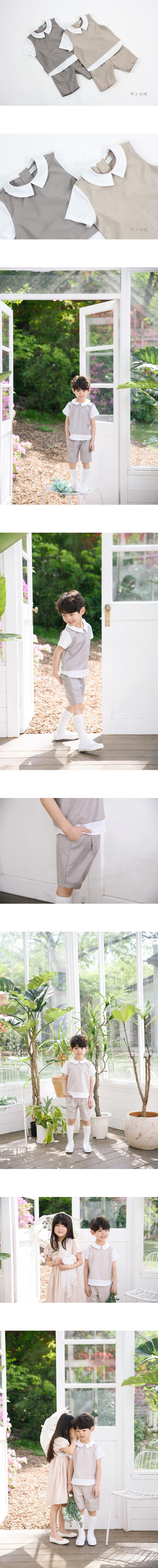 POURENFANT - Korean Children Fashion - #Kfashion4kids - Donner Linen Top Bottom Set
