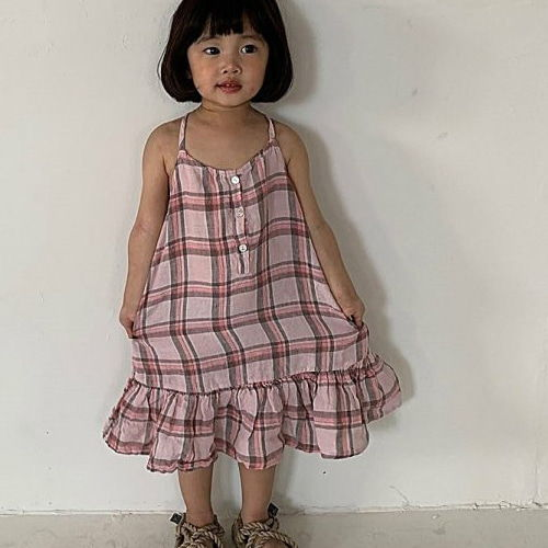 UNIUNI - BRAND - Korean Children Fashion - #Kfashion4kids - Linen Check One-piece