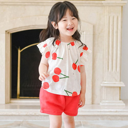 WANDOOKONG - BRAND - Korean Children Fashion - #Kfashion4kids - Bongbong Cherry Top Bottom Set