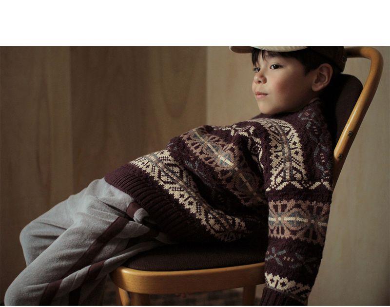 BIEN A BIEN - Korean Children Fashion - #Kfashion4kids - Shape Jacquard Knit Pullover