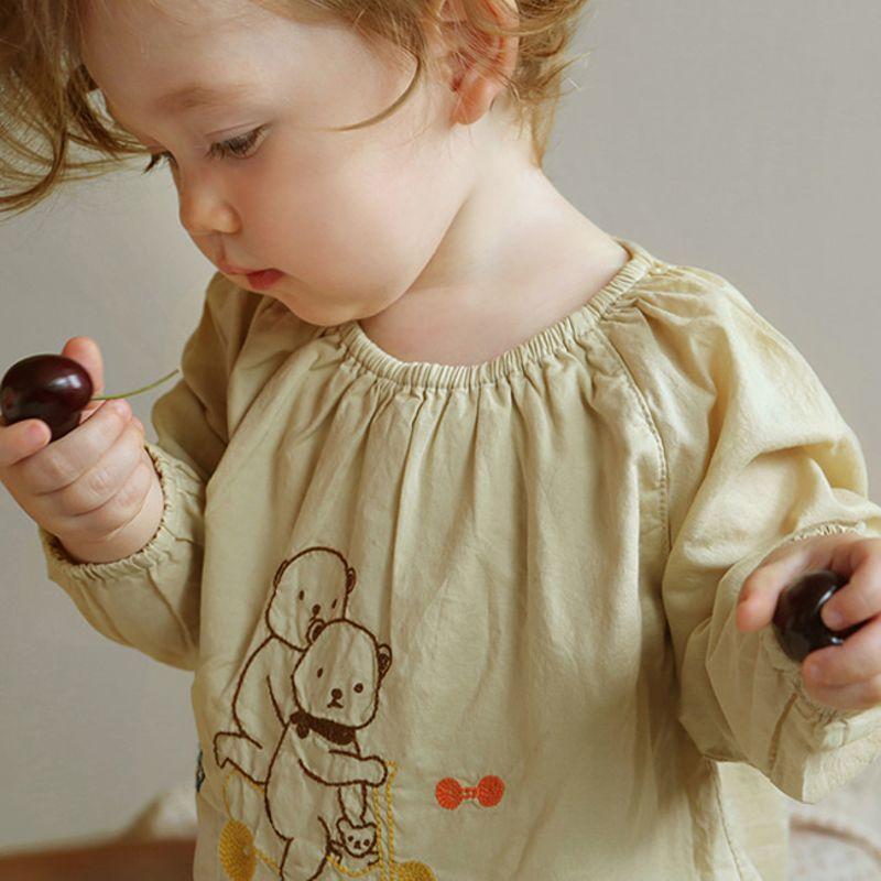 BIEN A BIEN - BRAND - Korean Children Fashion - #Kfashion4kids - Baby Embroidery Bodysuit