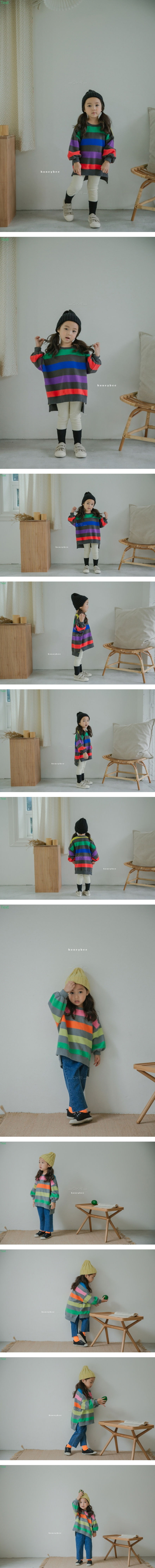 HONEYBEE - Korean Children Fashion - #Kfashion4kids - Unbalance Rainbow Tee