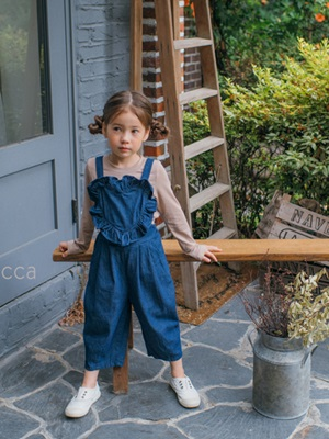 MICCA - BRAND - Korean Children Fashion - #Kfashion4kids - Heart Denim Overall