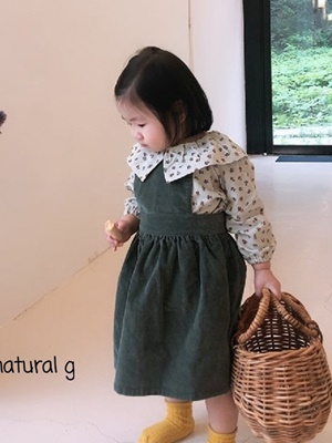 NATURAL G - BRAND - Korean Children Fashion - #Kfashion4kids - Olive Suspender Skirt