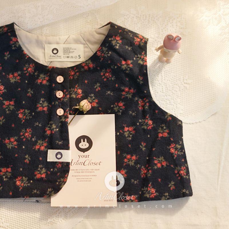 ARIM CLOSET - BRAND - Korean Children Fashion - #Kfashion4kids - Red Flower Baby Cotton Vest