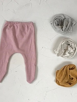 BEBE HOLIC - BRAND - Korean Children Fashion - #Kfashion4kids - Momo Stripe Foot Leggings