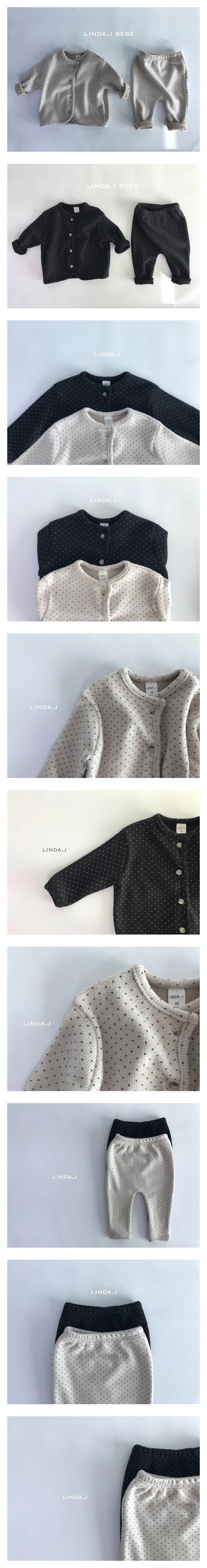 LINDA J - Korean Children Fashion - #Kfashion4kids - Dot Top Bottom Set