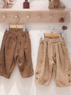 LOVIN - BRAND - Korean Children Fashion - #Kfashion4kids - Corduroy Button Pants