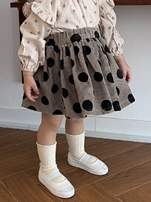 MINIMELLONG - BRAND - Korean Children Fashion - #Kfashion4kids - Corduroy Dot Skirt
