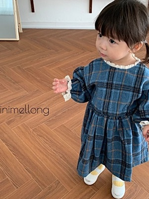 MINIMELLONG - BRAND - Korean Children Fashion - #Kfashion4kids - Wool Check One-piece