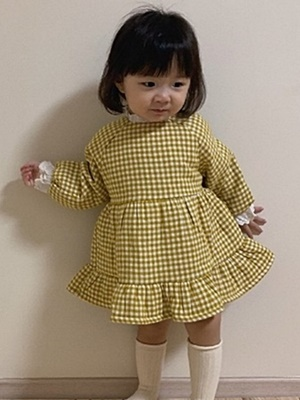 MINIMELLONG - BRAND - Korean Children Fashion - #Kfashion4kids - Bonding Cheese Check One-piece