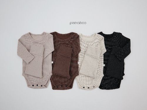 PEEKABOO - BRAND - Korean Children Fashion - #Kfashion4kids - Square Bodysuit Pants Set
