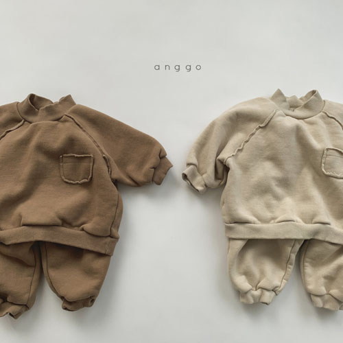 ANGGO - Korean Children Fashion - #Kfashion4kids - Half Turtleneck Top Bottom Set
