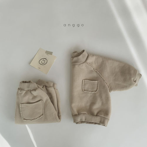 ANGGO - Korean Children Fashion - #Kfashion4kids - Half Turtleneck Top Bottom Set - 4