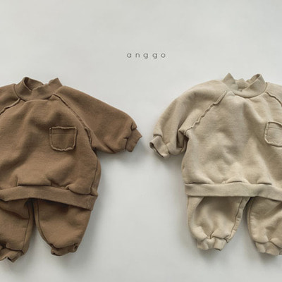 ANGGO - BRAND - Korean Children Fashion - #Kfashion4kids - Half Turtleneck Top Bottom Set