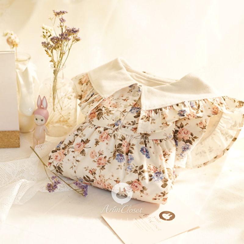 ARIM CLOSET - BRAND - Korean Children Fashion - #Kfashion4kids - Lovely Big Collar Flower Dress