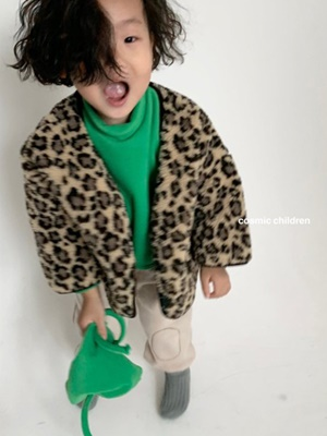 COSMIC CHILDREN - BRAND - Korean Children Fashion - #Kfashion4kids - Leopard Dumble Jacket
